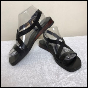 NWOT Leather Sandals Wood Heel